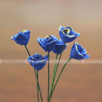 6 x Blue Roses BLUELOVER Flower Dollhouse Miniature One Inch Scale 1:12