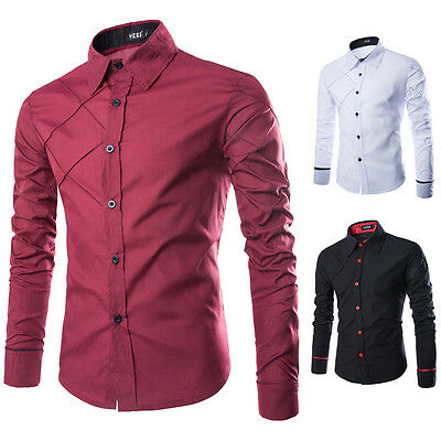 Hot Mens Luxury Long Sleeve Shirt Casual Slim Fit Stylish Dress Shirts Tops Lot