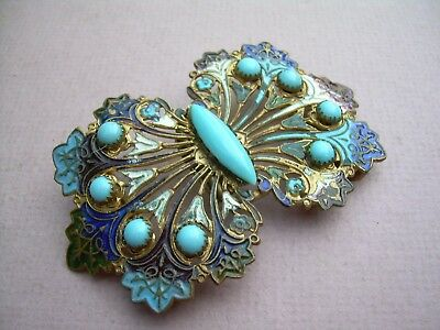 Antique Art Nouveau Enamel & Turquoise Paste Belt Buckle.