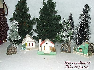 RARE Antique JAPAN 1920's paper CHRISTMAS Putz village FIVE HOMES