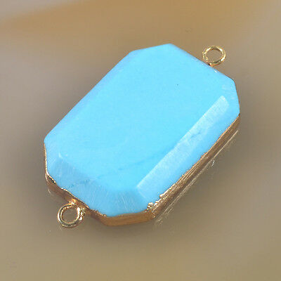 Blue Howlite Turquoise Faceted Connector Gold Plated B035910