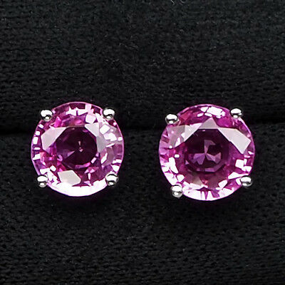 Charming Platinum Pink Tourmaline Main Stone 9.10 Ct. 925 Silver Stud Earrings
