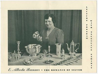 The Romance of Old Silver - E. Alberta Brenner Vintage Lecture Promotion Flyer