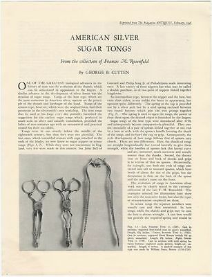 Antique American Silver Tongs @ the Rosenfeld Collection -1946 Offprint