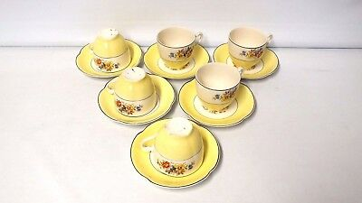 Johnson Brothers Pareek Set of Cups & Saucers Pale Yellow Floral Design
