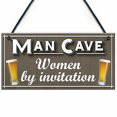 Man Cave Women Invitation Funny Door Home Bar Pub Hanging Plaque Husband Sign