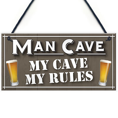 My Cave My Rules Man Cave Home Bar Pub Husband Hanging Plaque Shed Gift Sign