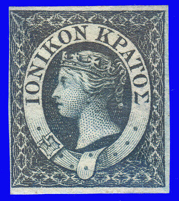 GREECE IONIAN STATE 1859 Engraved (1 d.) Blue NO GUM SIGNED UPON REQUEST