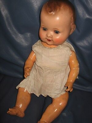 Vintage 1930's Large Size21 Inches Baby Doll Composition Glass Eyes Made Germany