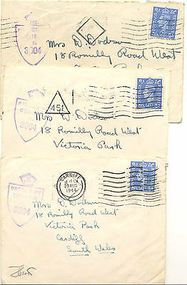 GB three WWII censored covers to Cardiff