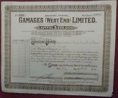 31328 GB 1929 Gamages (West End) 50 Ordinary shares certificate
