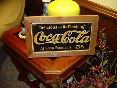 Coca Cola Custom Cedar Framed Retro Logo Tin Restaurant Bar Sign Weathered