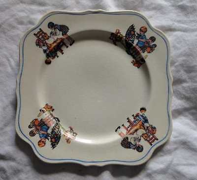 PLATE Vintage Child's Dish Little Girl Feeding Teddy Bear