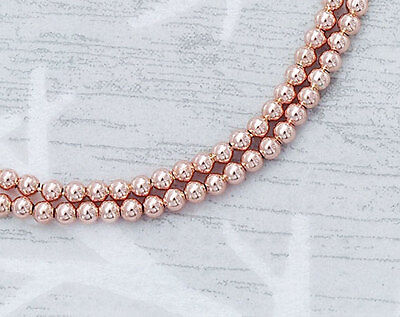 925 Sterling Silver Rose Gold Vermeil Style 50 Round  Beads 2 mm.