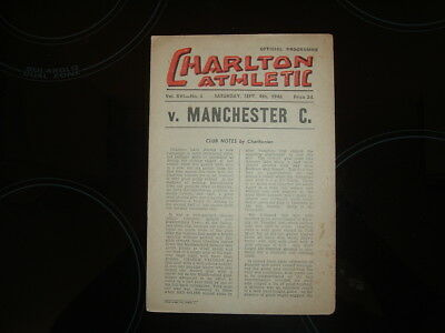 Charlton Athletic V Manchester City - Division 1 - 1948/49 - Free Postage