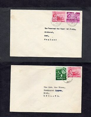 MAURITIUS.1940s-50s. 3xDIFF'T COVERS WITH 5xSTAMPS.'BEAU BASSIN' 'PORT LOUIS' DS