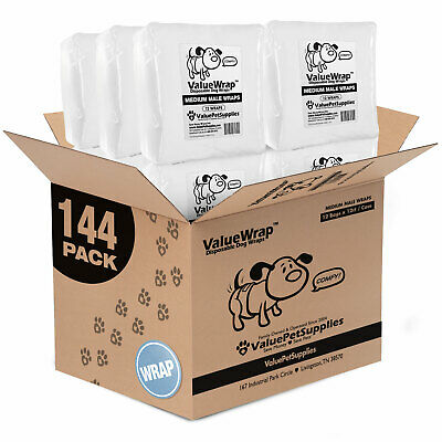 ValueWrap Disposable 2-Tab Male Wraps for Dogs, Medium 144ct (12 x 12ct)