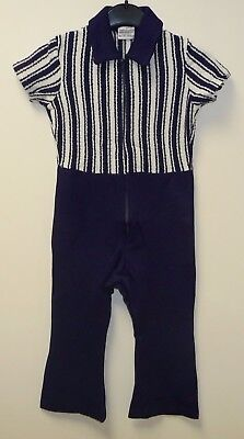 VINTAGE 1970's UNWORN BOYS MOTHERCARE NAVY BLUE & WHITE PLAYSUIT AGE 4 YEARS