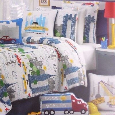 Max Studio kids Full Queen Quilt Set TOWN CITY CARS STREETS 100% cotton boys new