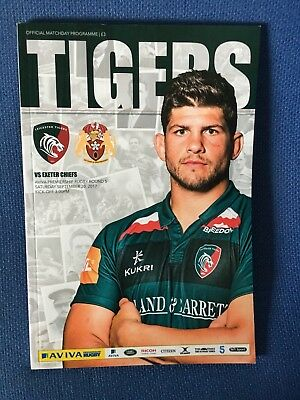 Leicester Tigers V Exeter Chiefs   30/9/17 Rugby Programme Aviva Premiership