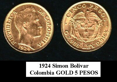 COLOMBIA BU 1924-B  FIVE gold Pesos Simon Bolivar NO RANDOM DATE--hand selected