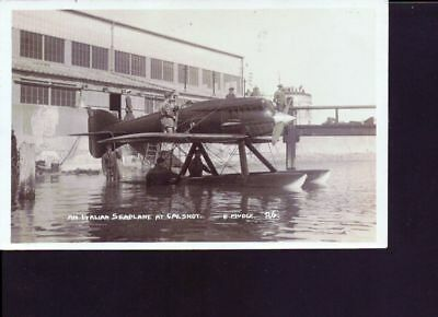 carte photo ancienne Hydravion an Italian seaplane at Galshot