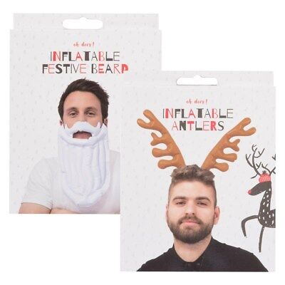 Christmas Inflatable Fancy Dress Father Beard Reindeer Antlers Fun Party Work