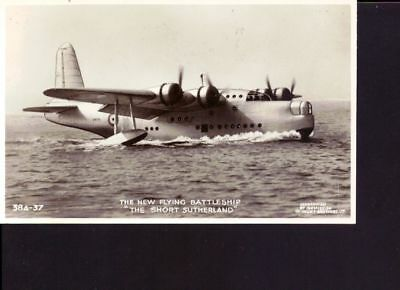 carte photo ancienne Hydravion the new flyng Battesship the short Sutherland
