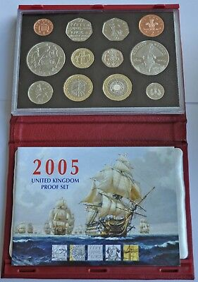 UK PROOF 12 COIN DELUXE YEAR SET 2005, CROWN T0 1p WITH COA, IN RED LEATHER CASE