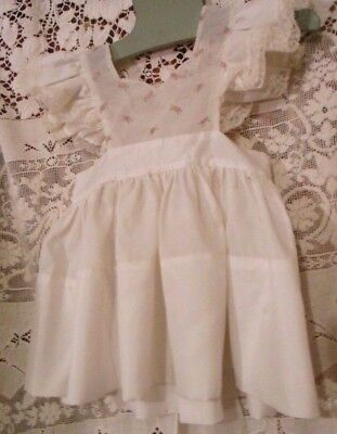 Vintage Little highness Doll Girls White Pinafore Pink Embroidered Rosebuds  1