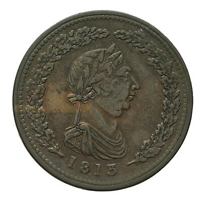 BRITISH NON LOCAL GEORGE III ONE PENNY TOKEN 1813  Withers 1395  RRR