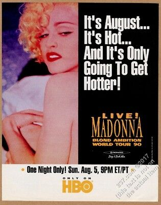 1990 Madonna photo Blond Ambition Tour HBO special vintage print ad