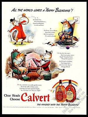 1942 cute fox family art Calvert Special and Reserve whiskey vintage print ad