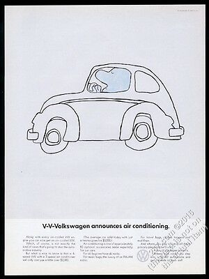 1968 VW Volkswagen Beetle classic car now with air conditioning 13x10 print ad