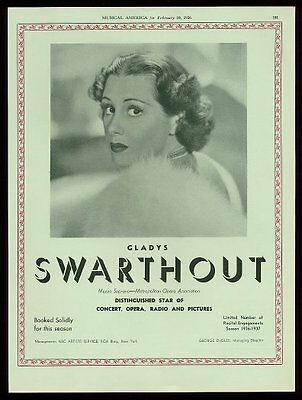 1936 Gladys Swarthout photo opera recital trade booking ad
