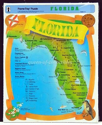 Florida Landmarks Puzzle Frame Tray Still Sealed State Map 1992 NIB Souvenir
