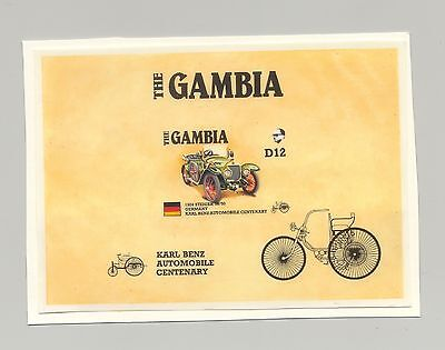 Gambia #628, Automobiles, Steiger 10/50, Ameripex 1v imperf s/s chromalin proof