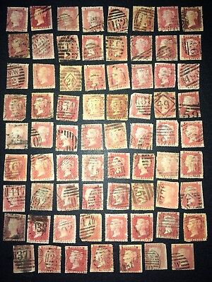 GB QV Penny Red Stamps With Faults