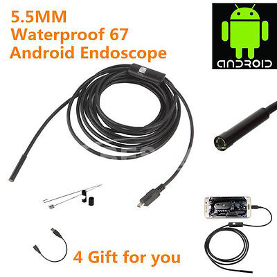 3.5/2/1.5/1M 5.5mm Android Endoscope Waterproof Borescope Inspection Camera 6LED