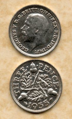 real silver 3d Three Pence coin 1935 VF for collecting or invest in silver