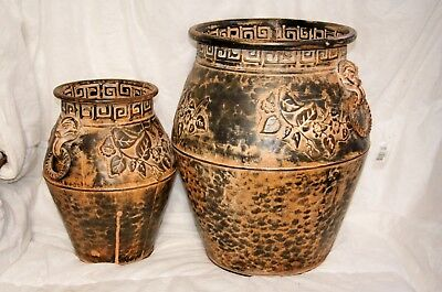 Wholesale stock job lot Vine Leaf Design Metal Urn Planter Pair Lot B