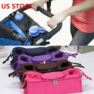 Kids Baby Stroller safe console tray pram hanging black bag/bottle cup holder US