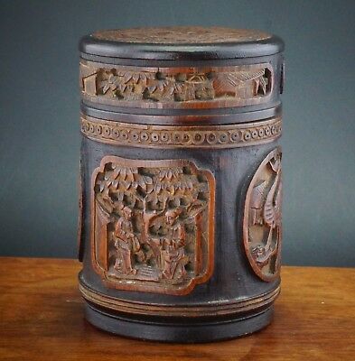 FINE Chinese Carved Bamboo Figure Vase Brush Pot Bitong Tea Caddy & Cover 19th C