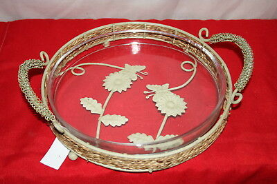 Wholesale stock job lot Large Glass Tray with Wicker &  Metal Holder x3