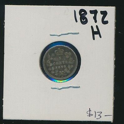 Canada - Silver - 5 Cents - 1872-H