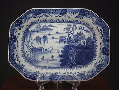 Large Antique Chinese Porcelain Blue and White Plate Charger 18th C QIANLONG