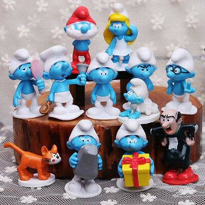 12pcs The Smurfs Smurfette Gargamel Action Figure Doll Toy Cake topper Play set