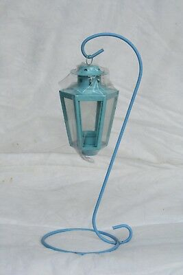 Wholesale stock job lot Garden Metal T-Lite lantern with Stand Light Blue x27