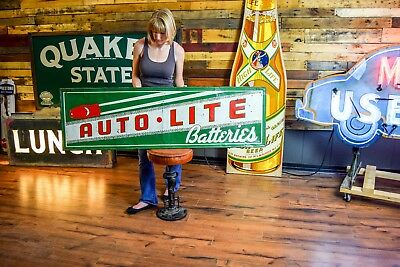 "Rare Vintage 1940's Auto-Lite Batteries Ford Chevy Gas Station 60"" Metal Sign"
