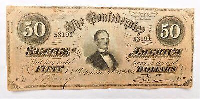 NO RESERVE Confederate States of America 50 Dollar Note